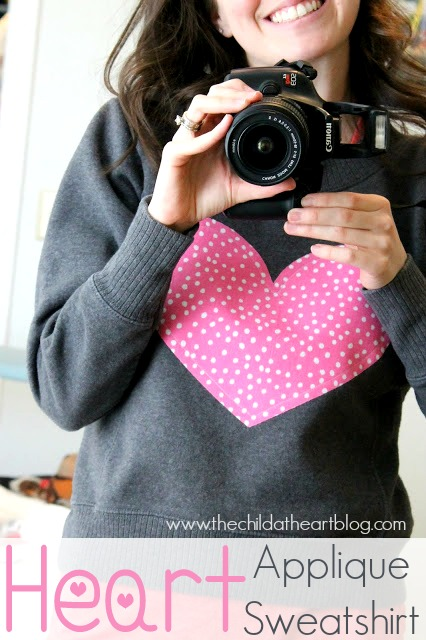 Heart Applique Sweatshirt tutorial