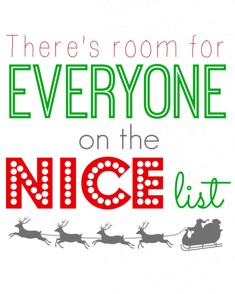 Theres room for everyone on the nice list printable