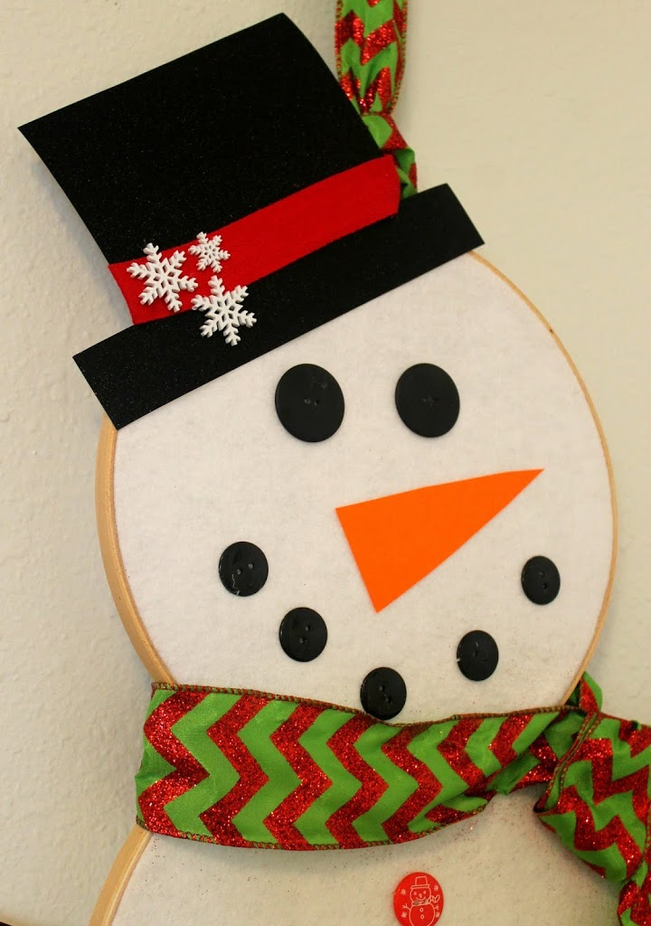 Snowman Embroidery Hoop Christmas or Winter Wreath