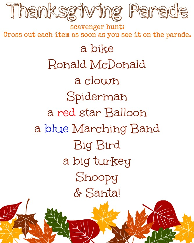 Thanksgiving Parade Scavenger Hunt Printable for the Kids Table