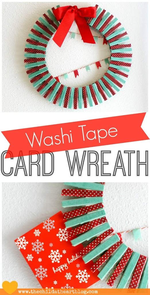Washi Tape Card Wreath Embroidery Hoop
