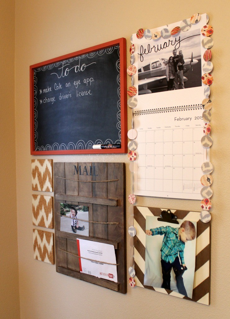 DIY Family Command Center:  Child at Heart Personalized DIY Calendar, Painted Cork Tiles, To-Do Chalkboard, DIY Vintage Clipboard Frame