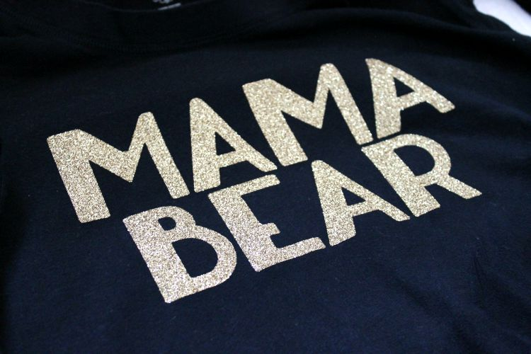 Mama Bear DIY Iron On Shirt with Cricut Explore and Cricut Glitter Vinyl: Child at Heart Blog