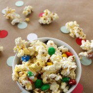 Snowflake Popcorn Recipe + Family Movie Party Ideas