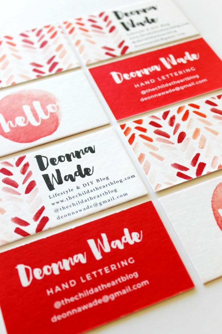 Watercolor Business Cards from Basic Invite: the Child at Heart blog