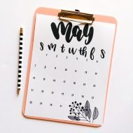 FREE Hand-Lettered May Calendar Printable