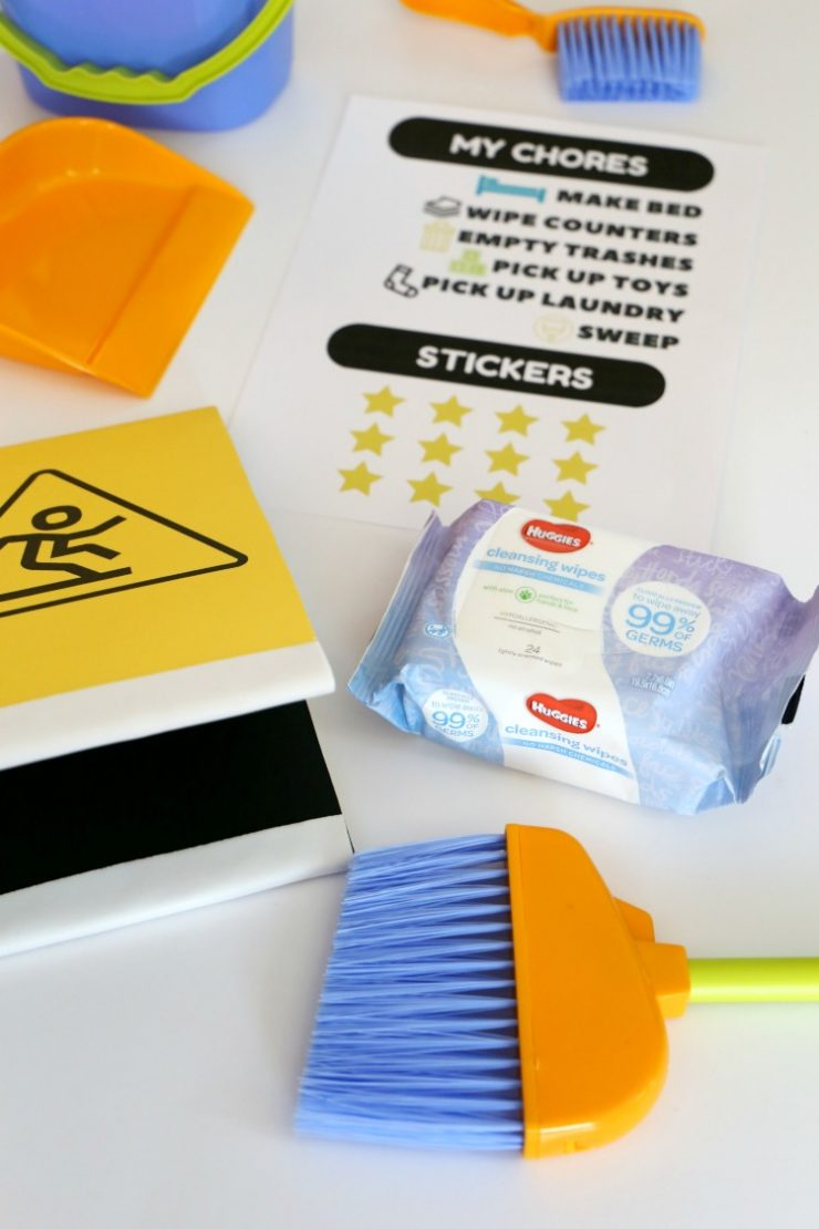 Kids Chore List Printable + DIY Wet Floor Caution Sign with Huggies Cleansing Wipes: the Child at Heart blog