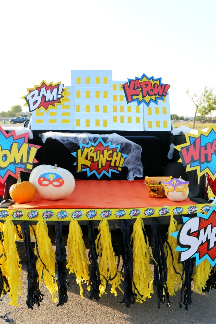 superhero halloween trunk or treat ideas diy skyline the child at heart blog