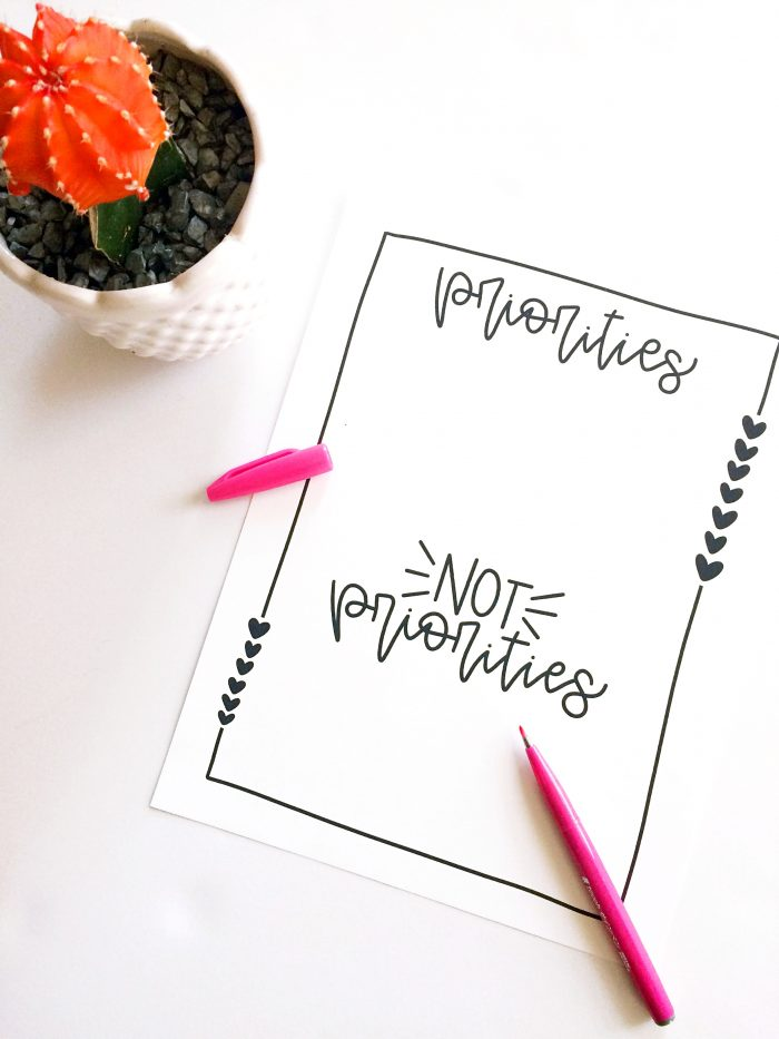 Free Priorities Printable
