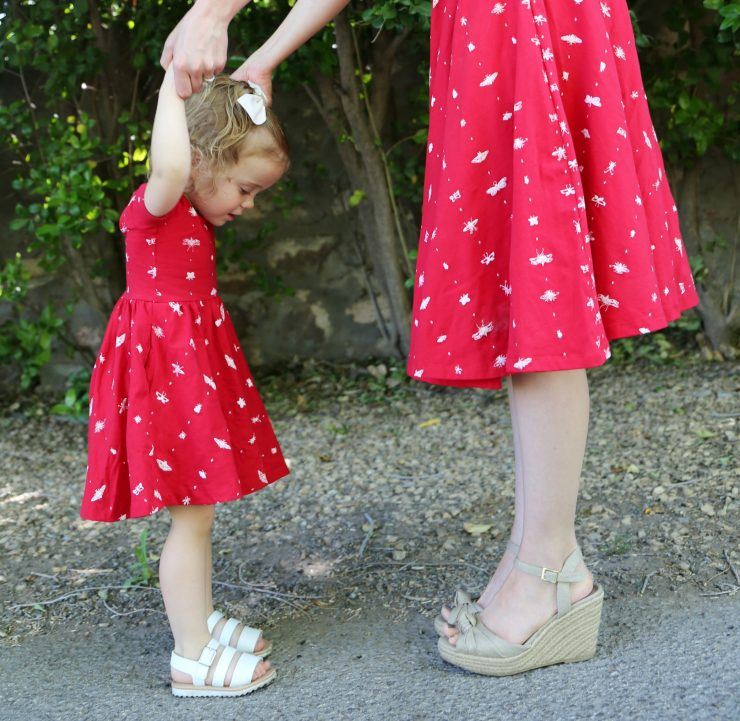 Mommy and Baby Girl in Red Dresses